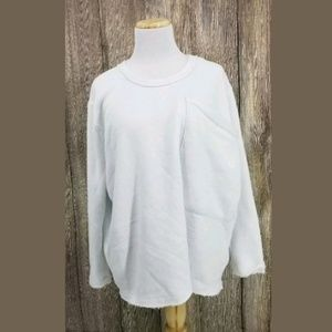 Free People Oversized White Open Back Sweatshirt